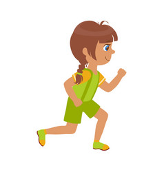 little girl running in a green shirt and shorts vector image vector image