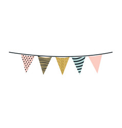multicolored silhouette decorative pennants party vector image