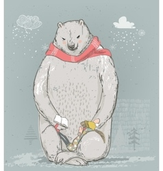 polar bear with little girl vector image vector image