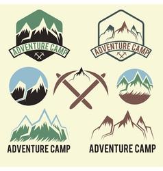 set of vintage labels adventure camp vector image vector image