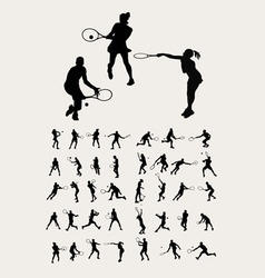 Tennis Sport Silhouettes vector image vector image