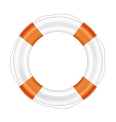 White lifebuoy with orange stripes and rope vector image