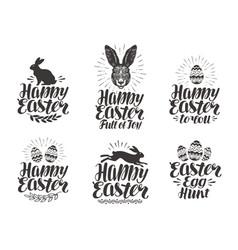 happy easter label set egg rabbit bunny symbol vector image vector image