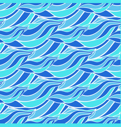 seamless wave hand-drawn pattern blue waves vector image