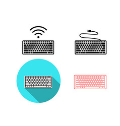 set of wireless and usb keyboard icons vector image