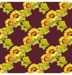 Sunflower garland seamless pattern on dark vector image vector image
