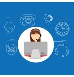 avatar girl brunette contact us information vector image