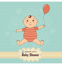 Baby shower card with a cute baby vector image vector image
