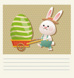 cartoon happy easter bunny carrying egg vector image