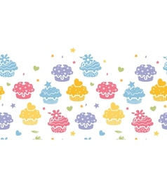 Colorful cupcake party horizontal seamless pattern vector image
