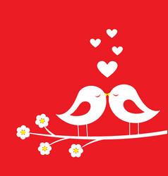 kiss of birds - romantic card for valentines day vector image vector image