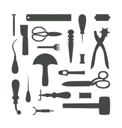 Silhouettes of Leather Craft Tools vector image