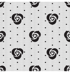 Dot rose lace seamless pattern net vector image