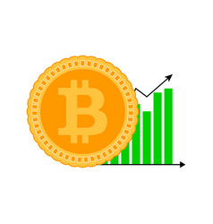growth bitcoin graphic icon vector image