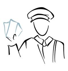 Postman on sketch vector image