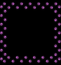 square frame made of pink animal paw prints on vector image