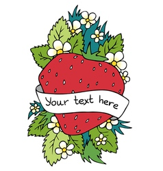 Strawberry heart background with place for text vector image vector image