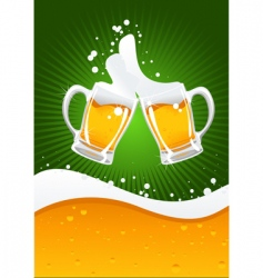 two beer mugs vector image vector image