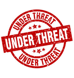 under threat round red grunge stamp vector image vector image