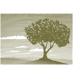 woodcut tree landscape vector image vector image