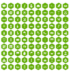 100 europe countries icons hexagon green vector