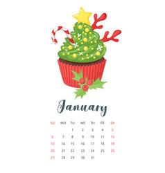 2019 year calendar with cupcake vector image