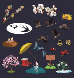 a set spring elements for clip art a vector image