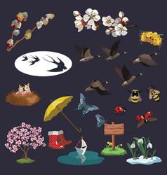 a set spring elements for clip art vector image
