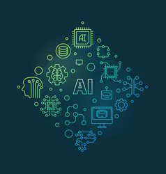 ai or artificial intelligence colorful vector image