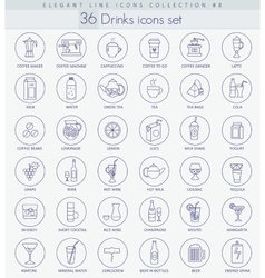 Alcohol Tea and coffee drinks outline icon vector image