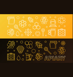 apiary colored 2 banners set in thin line vector image
