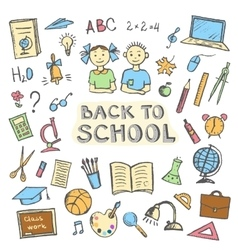 Back to school set sign and symbol doodles vector