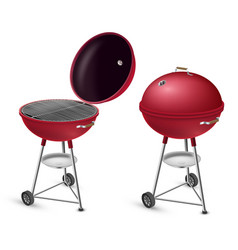 barbecue grill open and closed realistic set bbq vector image