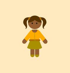 Black little girl kid child cute afro american vector