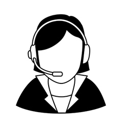 Businesswoman character with headset icon vector