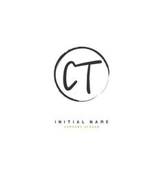 C t ct beauty initial logo handwriting logo vector