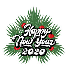 calligraphic inscription happy new year on the vector image