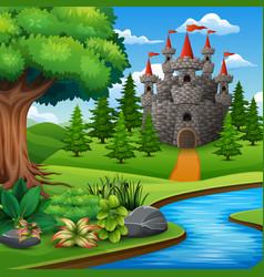 Cartoon of castle on hill landscape vector