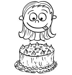 Cartoon of girl looking at birthday cake vector
