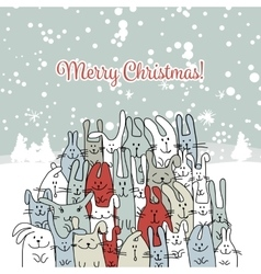 Christmas card with happy rabbit family vector