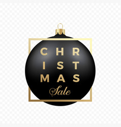 christmas sale banner or sticker black ball on vector image