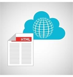 cloud technology web language globe vector image