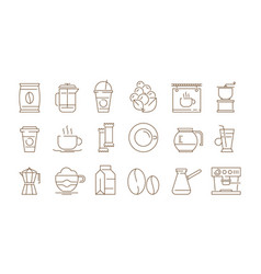 coffee icon hot drinks tea and time vector image