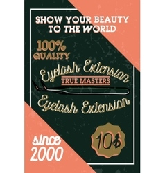 Color vintage eyelash extension banner vector