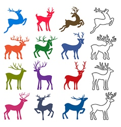 Colored black deer silhouettes set vector
