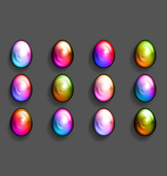 colorful easter eggs multicolor decorative 3d vector image