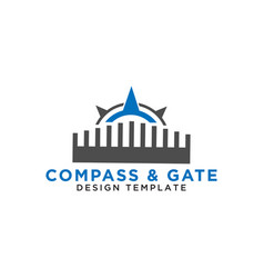 Compass and gate logo design template vector