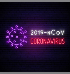 Coronavirus neon signboard bright light banner vector