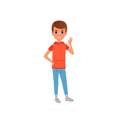 Cute boy character in stylish casual clothing vector