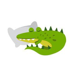 cute cartoon crocodile character sleeping on a vector image